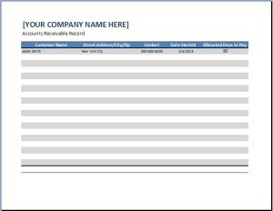 General Business Account Receivable Template