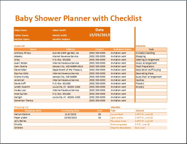 KtS Baby Shower Planner With Checklist Template  Word  Excel