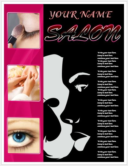 Beauty Salon Poster for MS Word