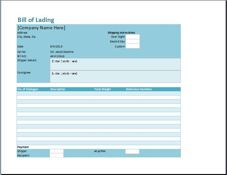 Bill Of Lading Template  Blank Bill Of Lading Form Template