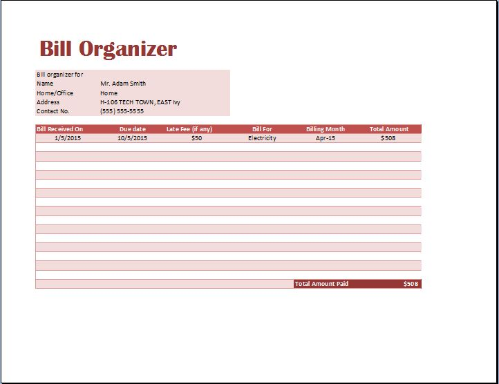 Ms Excel Comprehensive Bill Organizer Template | Word & Excel