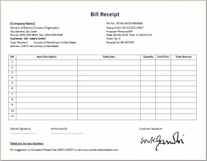 Formal Bill Receipt Template