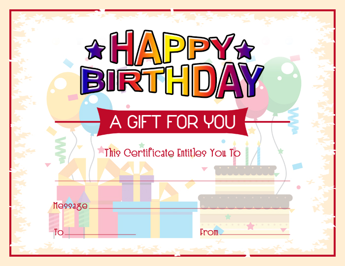 Colorful Birthday Gift Certificate Template  Word  Excel Templates