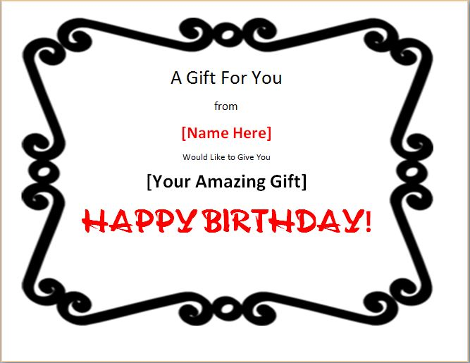 Colorful Birthday Gift Certificate Template – Birthday Gift Coupon Template