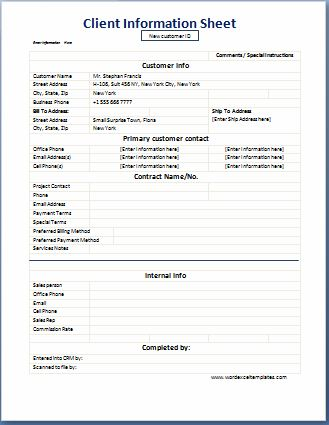 Business Format Client Information Sheet  Word  Excel Templates