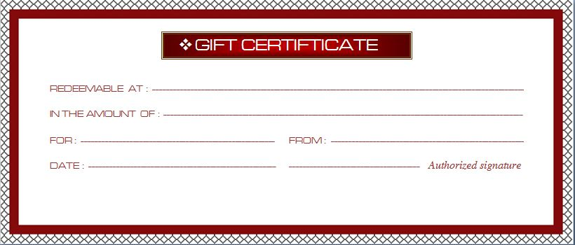 Business Gift Certificate Template  Word  Excel Templates