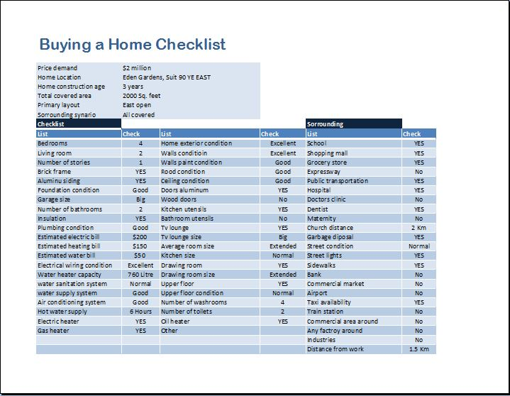 Checklist Template Xls Buying a Home Checklist Template