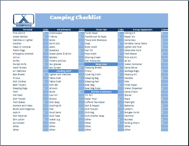 Outdoor Camping Checklist Template  Checklist Template Word