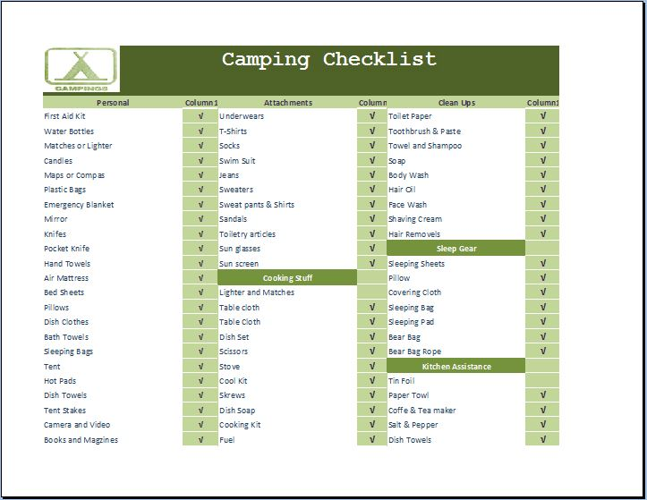 camping necessities checklist template word excel templates