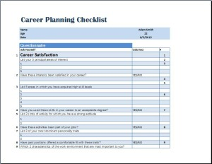 Formal Career Planning Checklist Template