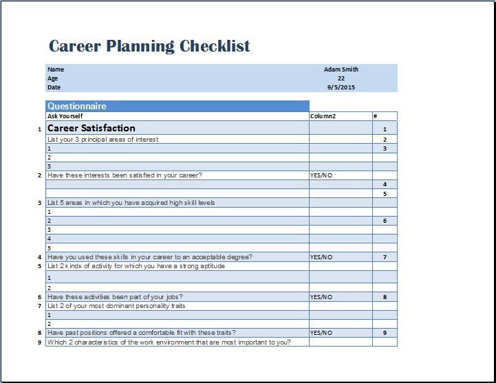 Formal Career Planning Checklist Template  Checklist Template Word