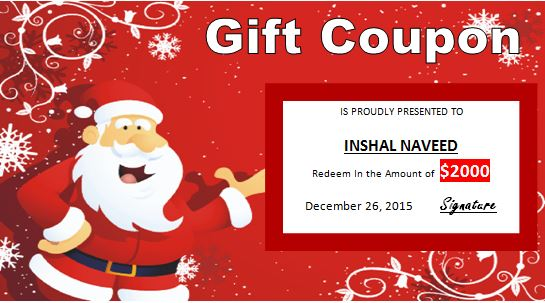 Merry Christmas Gift Certificate Template  Gift Voucher Template For Word
