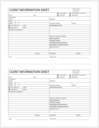 Business format client information sheet word excel for Sales customer profile template