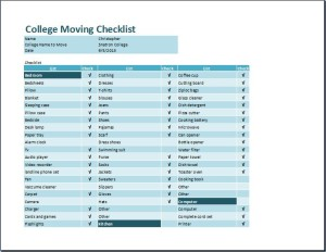 Student College Moving Checklist Template