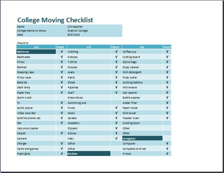 Student College Moving Checklist Template | Word & Excel Templates