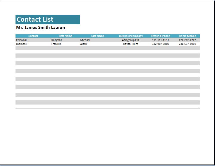 generic pattern contact list template word excel templates