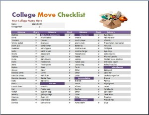 Dorm Room Checklist Template Part 33