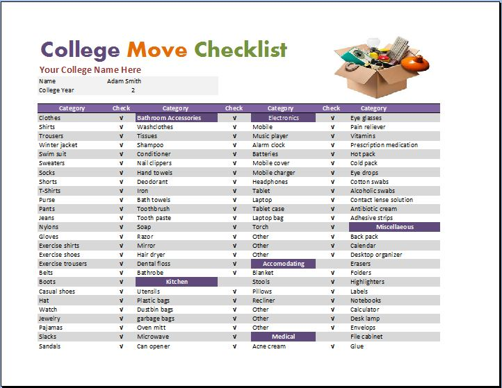 Dorm Room Checklist Template