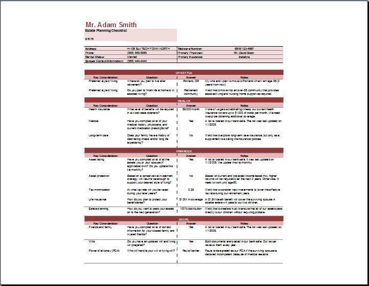 Estate Planning Checklist Template Word Excel Templates. Estate Planning Checklist Template. Worksheet. Property Division Worksheet Excel At Mspartners.co