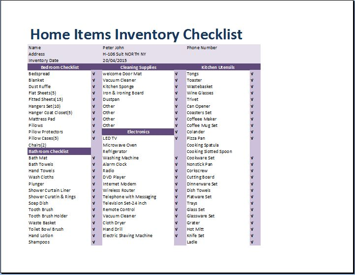 Comprehensive Home Inventory Checklist  Inventory List Form