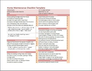 My Home Maintenance Checklist