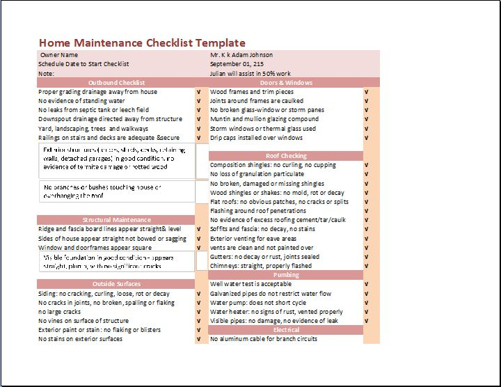My Home Maintenance Checklist  Checklist Template Word