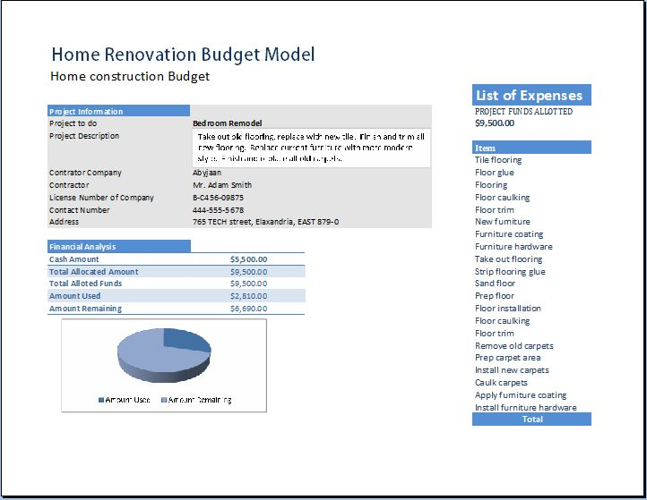 Home Renovation Model Template