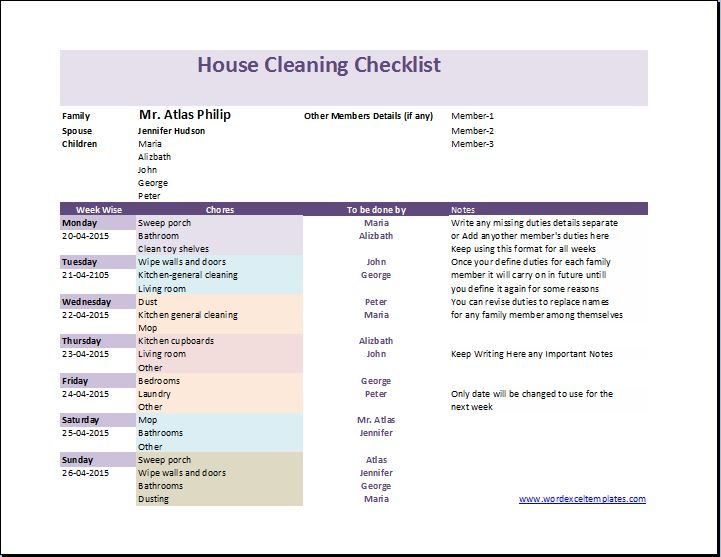 My house cleaning checklist template word excel templates for Maid checklist template