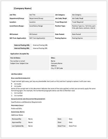 General Job Description Template