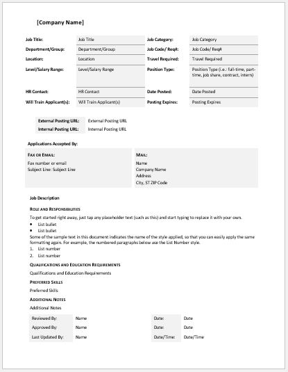General Job Description layout Template