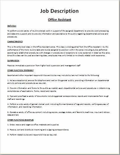 Comprehensive job description template word excel for Example of a job description template