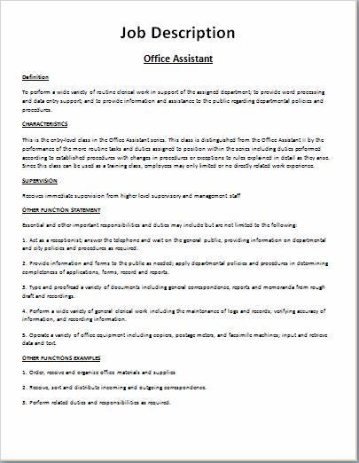 Comprehensive Job Description Template Word Excel Templates