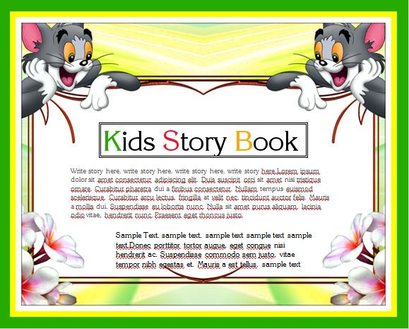 Kids story writing book template word excel templates for Writing a book template word
