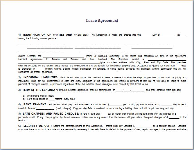 Fully Prepared Lease Agreement Template  Agreement Template Word