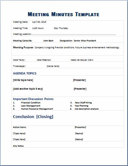 Formal Meeting Minutes Template – Meeting Templates Word