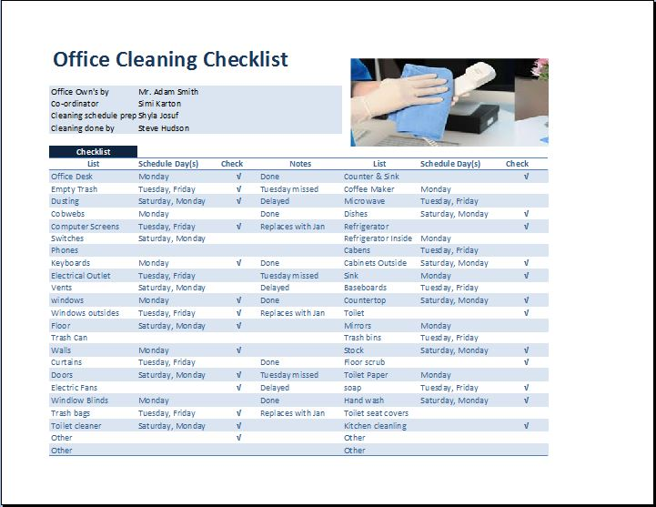 Commercial Office Cleaning Checklist Template Word Excel