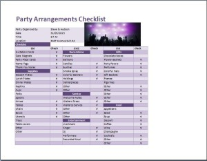 Party Arrangements Checklist Template