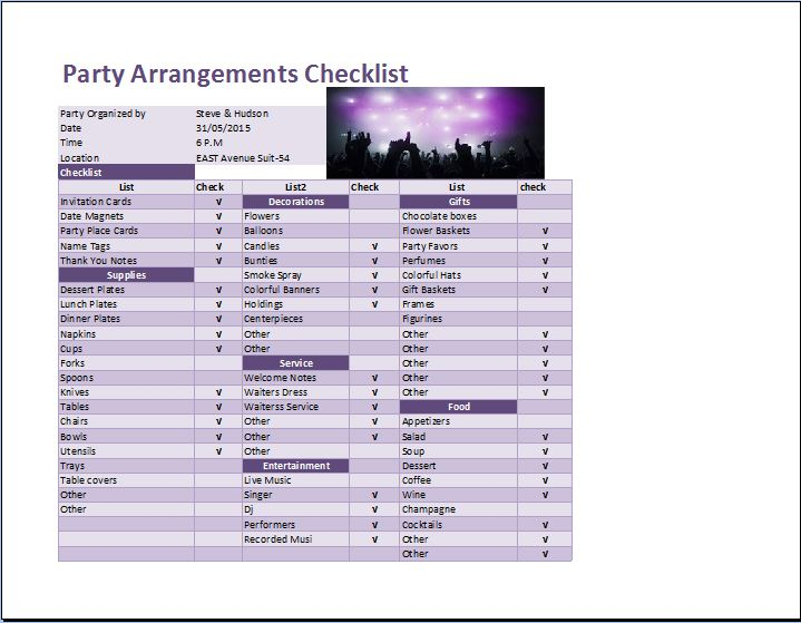 Party Arrangements Checklist Template For Excel  Word  Excel