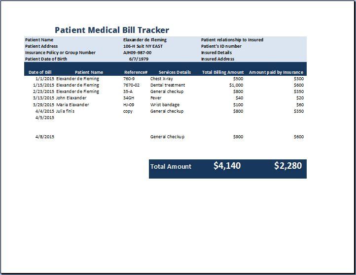 Patient Medical Bill Tracker