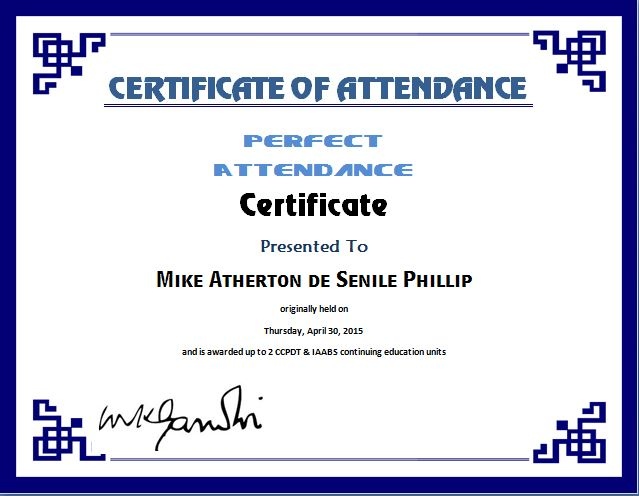 Perfect Attendance Certificate Template  Certificate Templates For Word