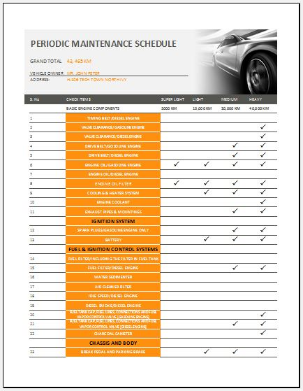 Car Maintenance Checklist >> General Vehicle Maintenance Checklist Template Word Excel Templates