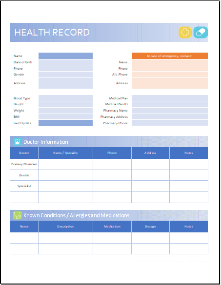 Personal Health Record Sheet Template for Excel