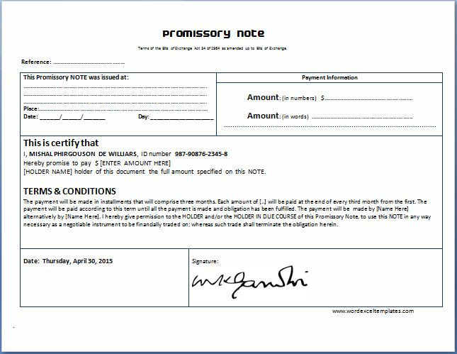 Promissory Note Template For Ms Word  Word  Excel Templates