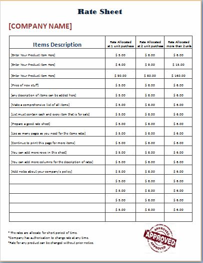 Official Design Rate Sheet Template Word Amp Excel Templates