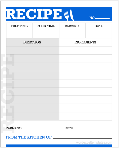 Cooking recipe card template