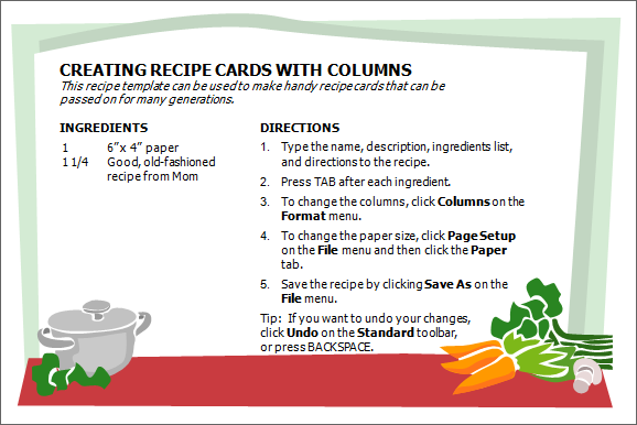 Creative professional cooking recipe card template word for Template for recipes in word