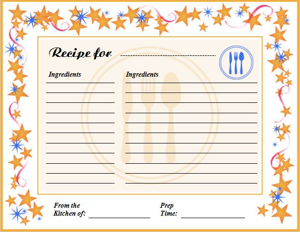 Creative Professional Cooking Recipe Card Template | Word & Excel