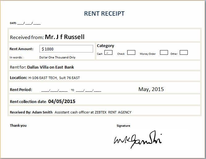 Formal Rent Receipt Template – Rental Receipts Templates