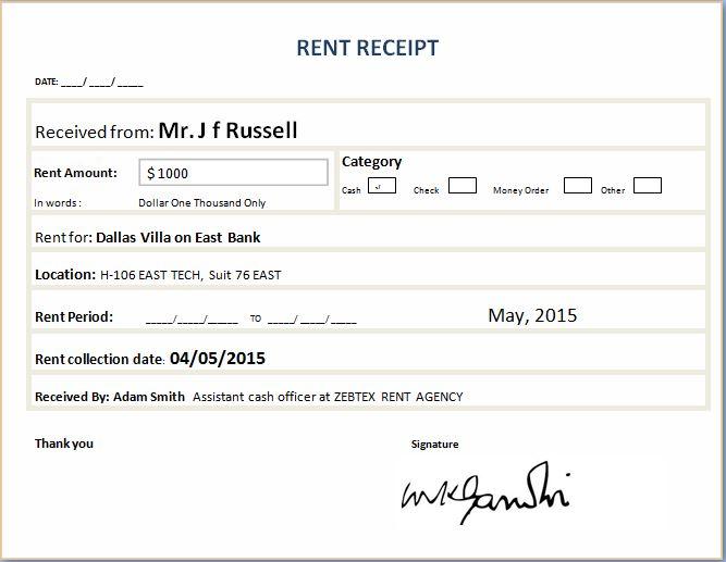 Formal Rent Receipt Template