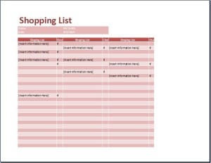 Generic Shopping List Template